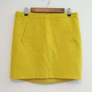 J. Crew Zip Pocket Wool Mini Skirt Citron Yellow